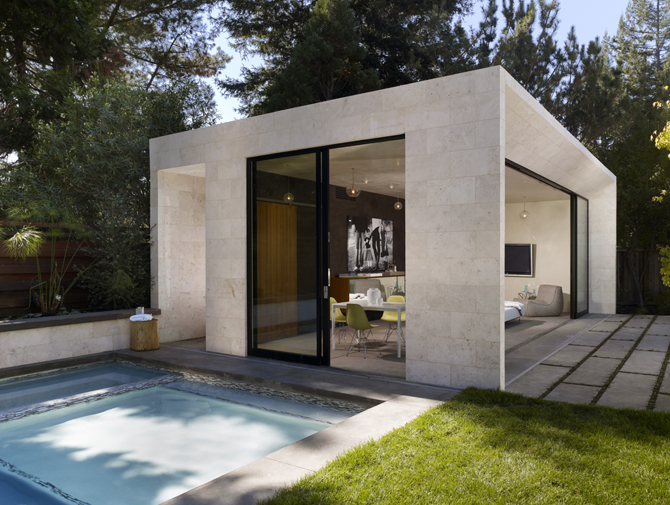 Modern pool house and garden sonoma enertia designs - Modern house with pool ...